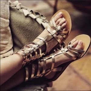 Sandals Leather Tall Buckles Gladiator Footwear 7